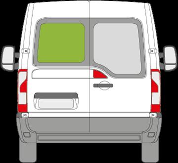 Afbeelding van Achterruit links Nissan NV400 met ontdooiing